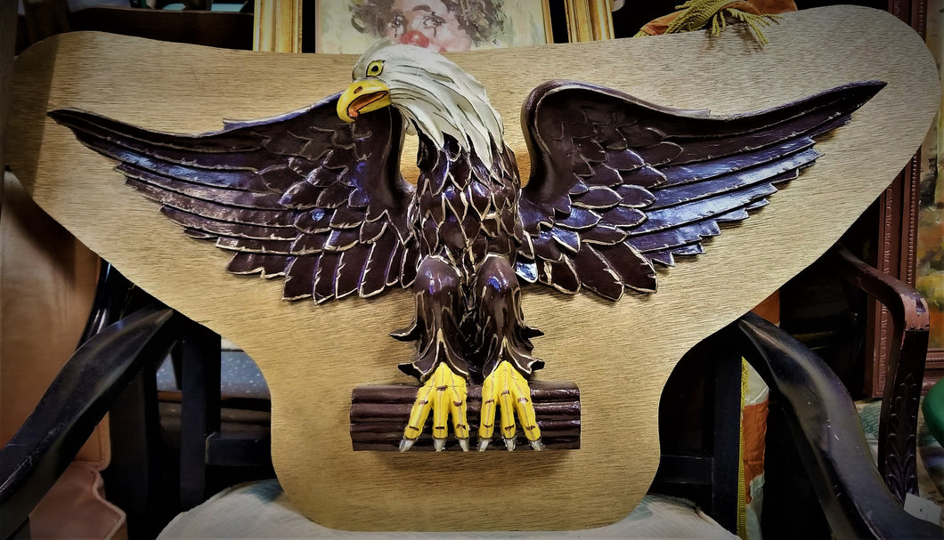 Handmade and Painted Eagle Wall Plaque