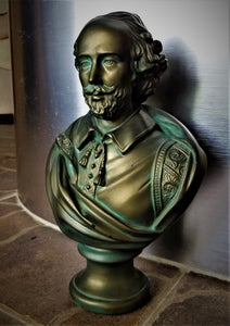 William Shakespeare Bronze-Colored Plaster Bust w/ Patina