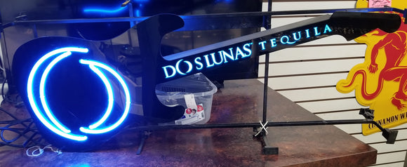 Dos Lunas Neon Guitar Sign w/ Color Changing LED