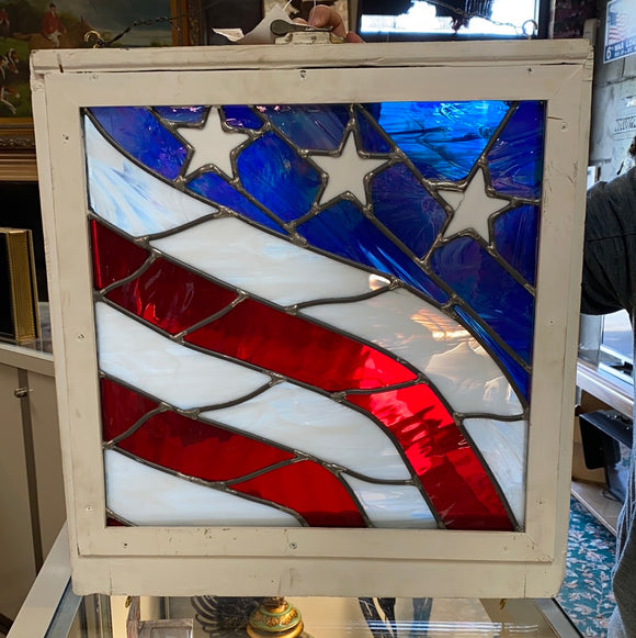 American Flag Stained Glass Hanging Window