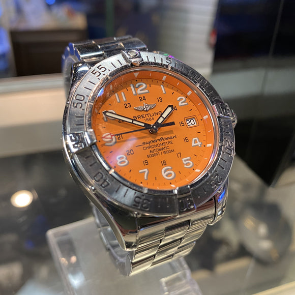 Breitling Superocean Chronometre Automatic Watch - Orange Dial - Stainless