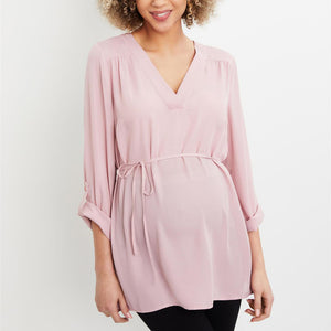 Maternity Casual v-neck Removable Waist Tie Top