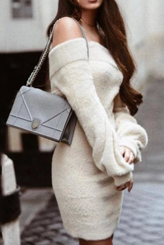 Maternity Sexy One Shoulder Long Sleeve Knit Bodycon Dress