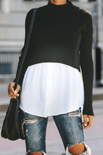 Load image into Gallery viewer, Maternity Pure Color Round Neck Short Long Sleeve Sweater