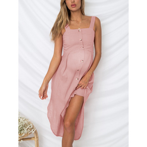 Maternity Sexy Square-Cut Collar Pure Colour Off-Shoulder Dress