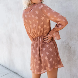 Maternity Fashion Long Sleeve Star Print Casual Dress
