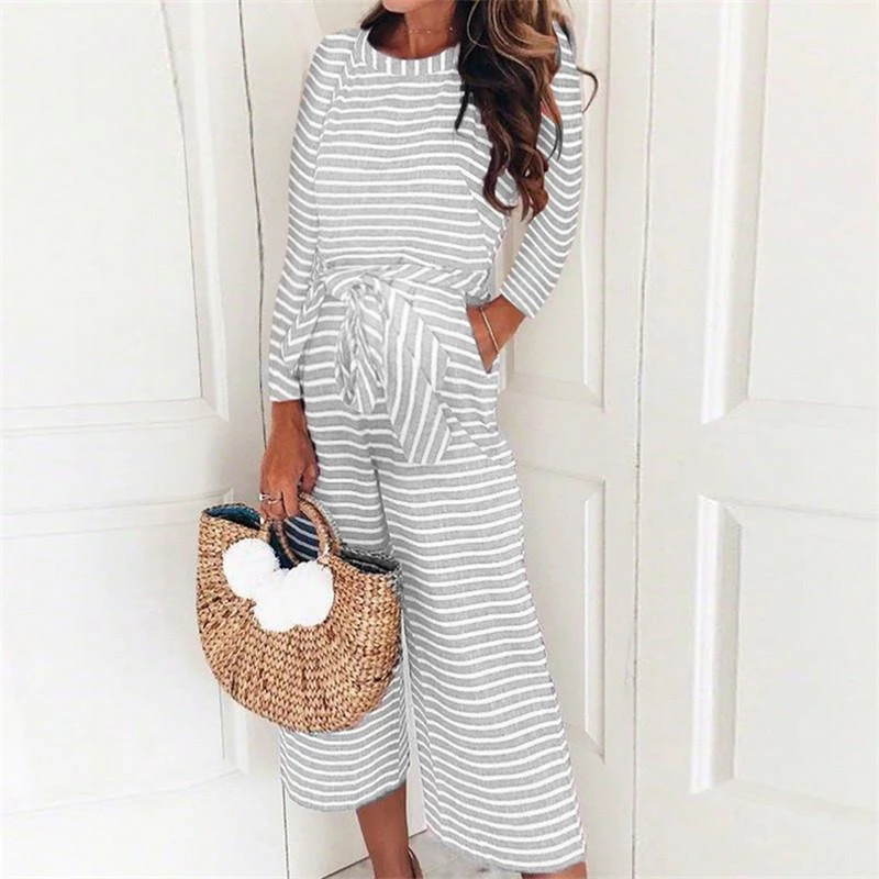 Maternity Round Neck Striped Long Sleeve Jumpsuits