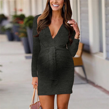 Load image into Gallery viewer, Maternity Casual Deep V Neck Long Sleeve Dress
