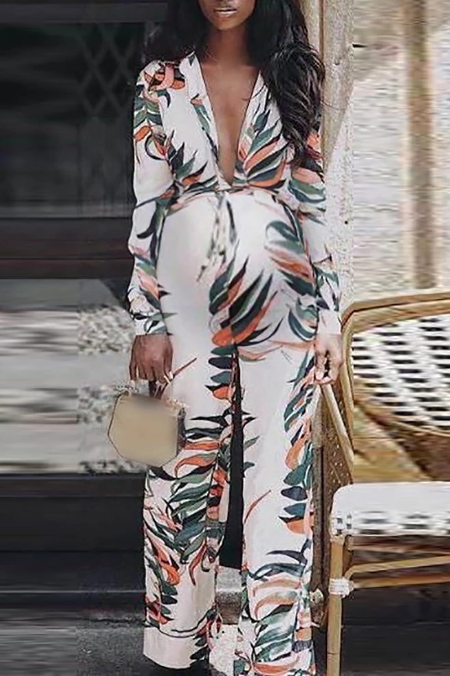 Maternity Casual V-neck Printed Long Sleeve Jumpsuits