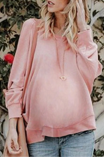 Maternity Solid Color Backless Irregular Sweatershirts