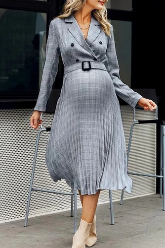 Maternity Fashion Casual Plaid Commuter Lapel Casual Dress
