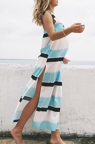 Maternity Fashion Casual Stripe Beach Vest Maxi Dress
