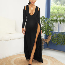 Load image into Gallery viewer, Maternity Sexy Backless Split Floor-Length Evening Dress