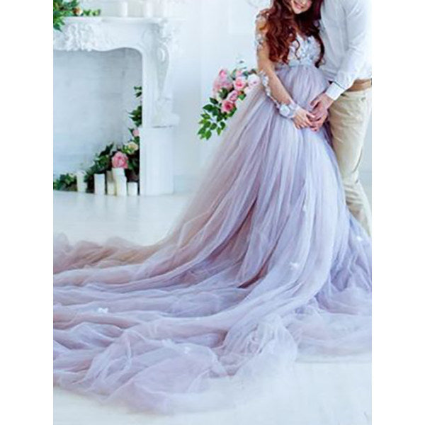 Elegant solid color stitching lace long evening dress