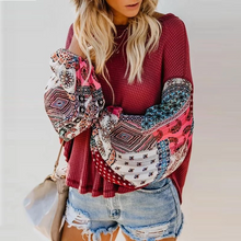 Load image into Gallery viewer, Maternity Fashion Stitching Printed Long Sleeve Round Neck Sweater