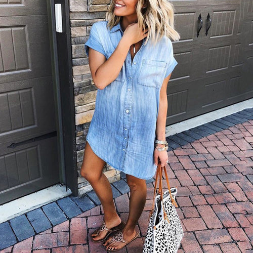 Sexy Loose Bat Sleeve Denim Shirt