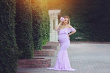 Load image into Gallery viewer, Maternity One-Shoulder Flounce Full Length Gown