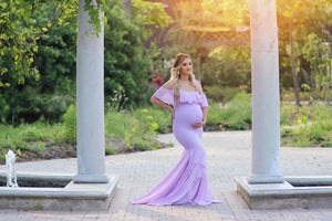 Maternity One-Shoulder Flounce Full Length Gown