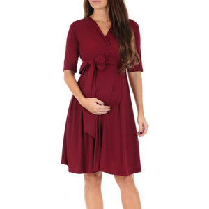 Maternity Solid Lace-Up V-Neck Casual Dress