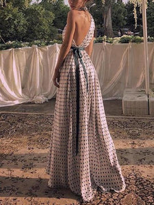 Maternity Fashion Casual Polka Dots One Shoulder Sleeveless Maxi Dress