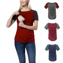 Load image into Gallery viewer, Maternity Fashion Casual Color Block Short Sleeve Nursing T-Shirts