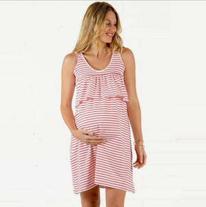 Popular Maternity Dress Stripe Dress Breast-feeding Dress