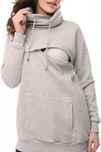 Load image into Gallery viewer, Maternity Casual Gray Hooded Zipper Breastfeeding Sweatershirts