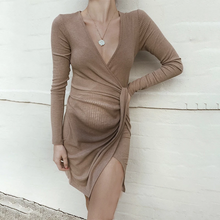 Load image into Gallery viewer, Maternity Deep-V Neck Long Sleeve Tight Pure Color Dress