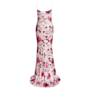 Maternity Fashion Flounce Sleeveless Floral Print Maxi Dress