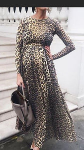 Women Leopard Print Round Neck Cotton Pregnant Long Sleeve Maternity Dress