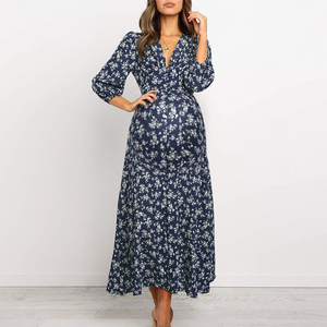 Maternity Casual Printed V-neck Long-sleeved High Waist Chiffon Dress