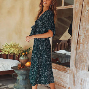 Maternity Fashion V Collar Flare Sleeves Floral Casual Dress