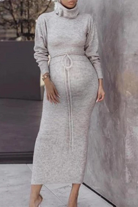 Maternity Fashion Casual Turtleneck Knit Bodycon Dress