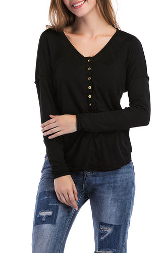 Maternity Fashion Casual V-Neck Solid Color Button T-Shirts
