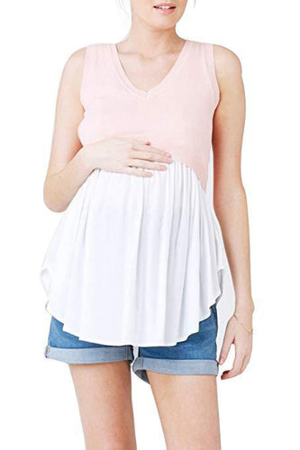 Maternity Fashion Casual Color Block Sleeveless Camis&Vests