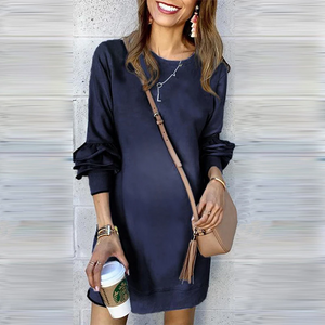 Maternity Commuting Round Neck Long Sleeve Pure Colour Casual Dress