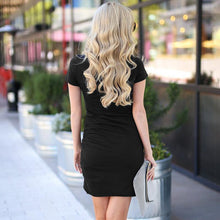 Load image into Gallery viewer, Maternity Fashion Short Sleeve Pleated Casual Dress