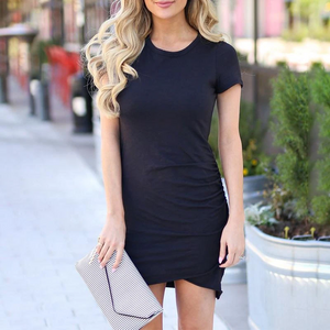 Maternity Fashion Short Sleeve Pleated Casual Dress