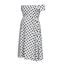 Load image into Gallery viewer, Maternity Fashion Polka Dots Off Shoulder Casual Dress