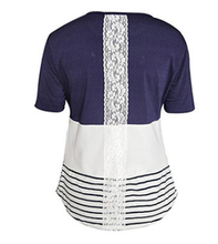 Load image into Gallery viewer, Maternity Fashion Casual Stripe Short Sleeve Lace Nursing T-Shirts