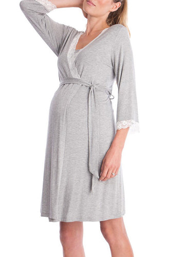 Maternity Fashion Casual alace-Up Lace Nightgown Casual Dress