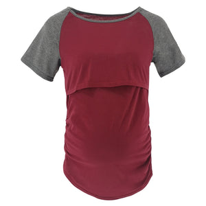 Maternity Fashion Casual Color Block Short Sleeve Nursing T-Shirts