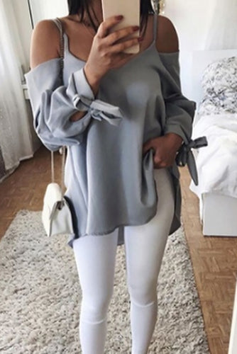 Maternity Fashion Casual Cold Shoulder Long Sleeve Blouse