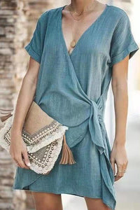 Maternity Fashion Lace-Up Short Sleeve Casual Dress