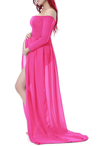 Maternity Fashion Casual Off Shoulder High Slit Long Sleeve Maxi Dress