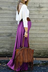 Maternity Fashion Casual Color Block Long Sleeve Backless Maxi Dress