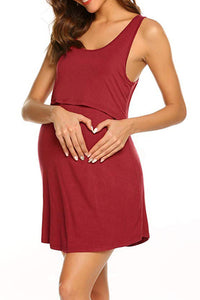 Maternity Fashion Sleeveless Solid Color Nursing Casual Dress