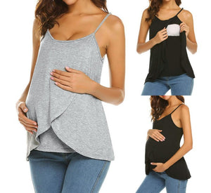 Maternity Fashion Casual Solid Color Sleeveless Nursing Camis&Vests