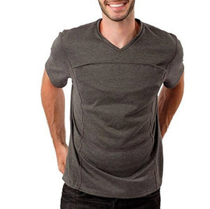 Fashion Casual Solid Color Kangaroo Dad Pocket Multifunctional Short Sleeve T-Shirts