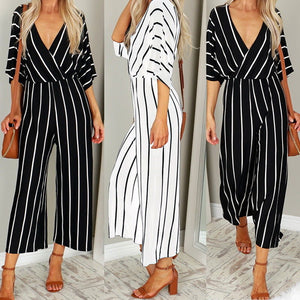 Maternity Fashion Casual Stripe V-Neck Half Sleeve Jumpsuits